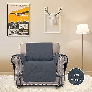 易穿绗缝沙发套,防水微绒面皮枕套,防滑家具保护套,带塑料防摔印花,三个口袋,柔软的沙发罩,宠物套 Dark Gray1 chair