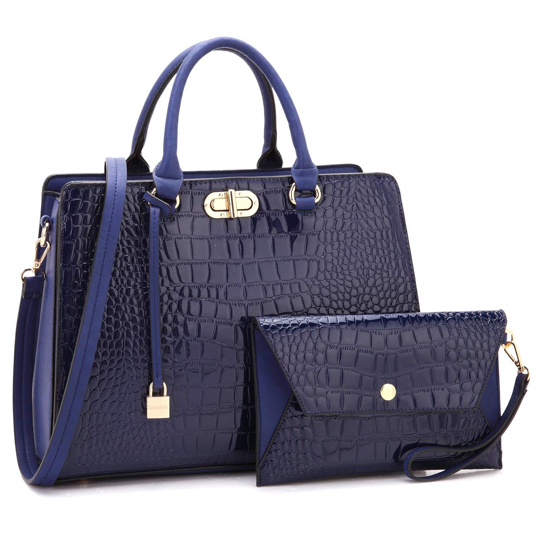 女式挂锁设计手提包手提包手提包手提包手提包带钱包 Crocodile- Blue large