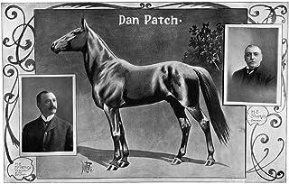 Dan Patch (1896-1916) Npacer Racehorse 插画带他的训练者和驾驶员肖像(左)以及他的主人 Manley E Sturges 1902 海报印刷品 (45.72 x 60.96cm)