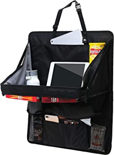 IN 汽车收纳器后座,适用于儿童和幼儿 - 平板电脑支架,自动座椅靠背保护,踢垫和汽车收纳器(1 包黑色)