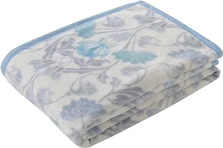 东京西川 毛毯 单人 棉*(毛羽部分) 印染棉 日本制造 轻量 轻量 蓬松 泉大津 美型 朴素花朵图案 蓝色 シングル FQ08051000B