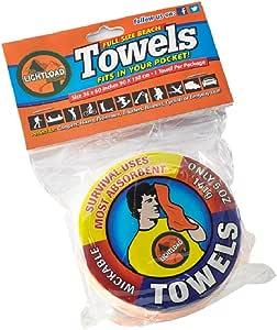 Lightload Towels 大号沙滩压缩包袋装在口袋里 非超细纤维游泳毛巾 速干 *吸水 * 旅行 游泳健身房 野营 141.75 克 36x152.4 厘米