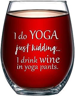 I Do Yoga, Just Kidding I Drink Wine in Yoga Pants 趣味 425 克无*杯 - 送给她、妈妈、妻子、女朋友、姐妹、*好的朋友、BFF - 送给女士的*生日礼物