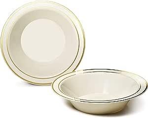 """适合场合"""" 40 片装,重磅一次性婚礼派对塑料盘 Ivory/Gold Rim Soup Bowl 1"""