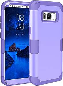 Mupoo 三星盖乐世 S8 手机壳,三层重型防震防摔混合硬质 PC 手机壳软硅胶防冲击器全机壳,适用于 Samsung Galaxy S8 黑色Mupoo202636 浅紫色