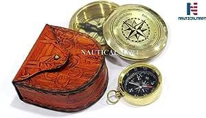 Direction 黄铜指南针和指南针钥匙链组合礼物,个性化指南针,伴郎礼物,婚礼礼物,航海指南针,公司礼物,独特,情人节,生日礼物