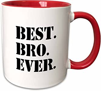 3dRose 151479_5 Best Bro Ever Gifts for Brothers 黑色文字双调马克杯,311.84 g,红色