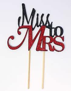 All About Details Miss To Mrs 蛋糕装饰,1 件,新娘送礼会,单身派对装饰,闪光装饰 黑色/红色 CATMTMR