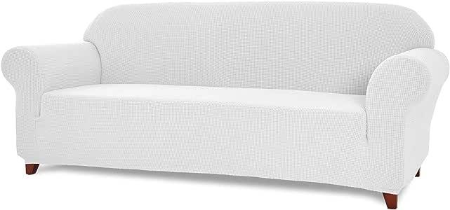 TOYABR 2 件提花弹性面料沙发套起居室涤纶沙发套家具床笠保护罩 白色 Loveseat(1-Piece) TOYABR TH1-29