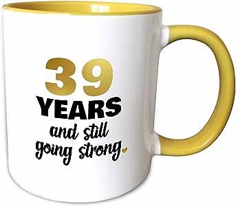 3dRose Janna Salak Designs 周年纪念 - 39 年 Still Going Strong 39 周年结婚纪念日礼物 - 马克杯 黄色 11 oz mug_274382_8