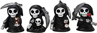 Ebros Time Waits for No Man 迷你 4 英寸(约 10.2 厘米)高 Chibi Grim Reapers with Scythe 手持沙漏骷髅钟和玫瑰花茎雕像 4 件套哥特式骷髅斗篷 厄运预言者雕像