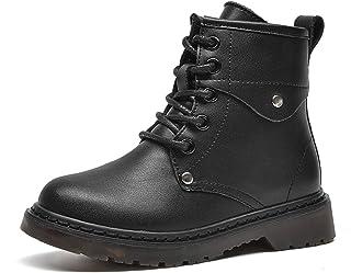 WUIWUIYU 户外休闲酷男孩女孩黑色侧拉链系带铆钉战斗战术沙漠靴高帮及踝靴