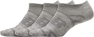 New Balance 女式高性能平针针织中性隐形袜 3 双装,灰色,大码