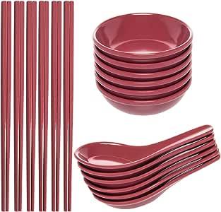 Zak! (24 件)亚洲可重复使用不含双酚 A 的塑料餐具套装,带有筷子、汤勺适用于 Wonton Pho & Ramen 的汤匙、小型碗餐具用于Dipping Sauces Like Soy & Wasabi 玫瑰红 2190-4970