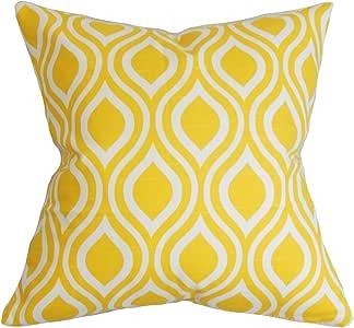 "枕头系列府绸几何欧式枕套 黄色 黄色 Standard/20"" x 26"" STD-PP-NICOLE-CORNYELLOWSLUB"