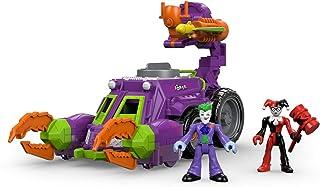 Imaginext DWV56 小丑和哈雷·奎恩战斗车玩具,带小丑和罕见的奎恩公仔、飞镖发射器和旋转炮,适合想象力游戏,适合 3 岁儿童