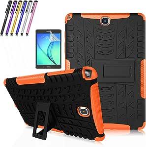 Windrew 重型防震【防滑】【内置支架】手机壳三星 Galaxy Tab A 8.0 英寸 SM-T350 P350 + 屏幕保护膜和触控笔TA80-1003 黑色/橙色