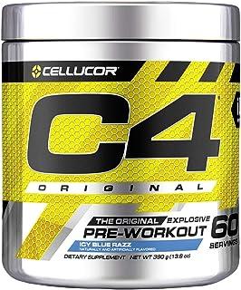 Cellucor C4 Original 运动前粉末能量饮料 一氧化氮和β-丙氨酸 冰蓝Razz 13.8盎司/390g 60份