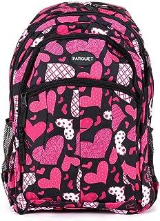 儿童书包、带可调节衬垫肩带的重型包、大主隔层舒适、炫酷印花、手提书、笔记本电脑、旅行、户外 粉色心形