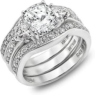 [アマゾンコレクション] Amazon Collection プラチナメッキスターリングシルバークリアキュービックジルコニア100ファセットブライダルリングセットサイズ7 婚約指輪 JER00656_120CL04QD00 日本サイズ7号 (USサイズ4号)