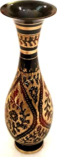 Akanksha Arts 黄铜制成 - 大型 9.25 英寸高花瓶 - 稀有印度装饰 - 诱人的设计和 Nakkashi