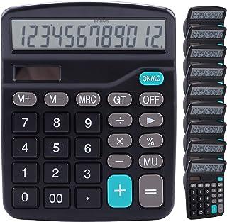 计算器,Lichamp 10 件装计算器,大显示屏,黑色标准功能台式基本计算器,带双电源太阳能电池和 AA 电池(包括)