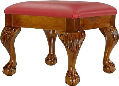 High Street Design 复古橡木效果小脚凳 Pillar Box Red Faux Leather 35.99x35.99x29.99 cm 1766