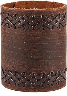 HZMAN 中性款手工编织皮革手链,宽袖包裹扣,可调节皮革手链