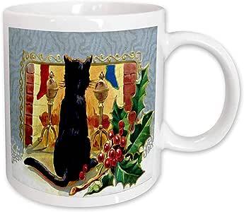 3dRose Merry Christmas Cat 1910 Mug, 11-Ounce