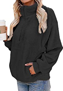 OHDREAM 女式加大码夏尔巴套头羊毛蓬松运动衫 1/4 拉链超大毛绒夹克口袋黑色
