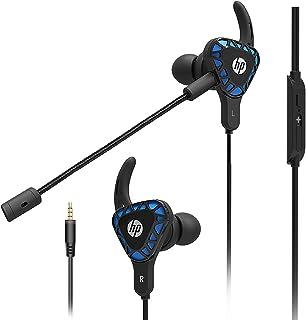 HP 游戏耳塞 带麦克风 深重低音耳机 入耳式耳机 立体声耳机 带可拆卸双麦克风 适用于移动游戏,任天堂Switch,Xbox One,PS4,专业,PC - 黑色