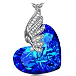 KATE LYNN Fly to Your Heart ♥Gifts for Her♥ Women Jewelry Made with Bermuda Blue SWAROVSKI * Heart Wings Pendant Necklace...