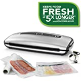 FoodSaver 食品真空封口机系统紧凑设计和手持配件,包括各种真空袋,FFS015