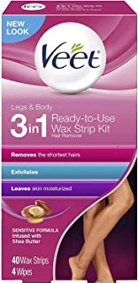 Veet Leg and Body Hair Remover Cold Wax Strips, 40 Count 2片装
