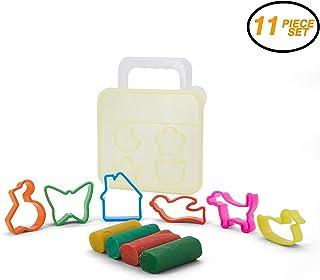 Srenta 工艺面团和切割器套装,儿童 DIY 艺术工艺工具 - 12 件套塑模机,4 色面团