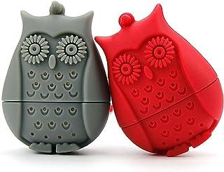 2 件套硅胶迷你猫头鹰茶袋,Ezeso 可重复使用的茶过滤器滤网器,适用于咖啡草本宾犬 红色+灰色 unknown