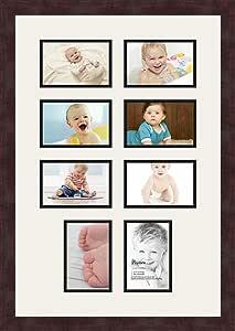 Art to Frames 双多衬垫-764-61/89-FRBW26061 拼贴框架照片垫 双衬垫 8-4x6 开口和咖啡色框架