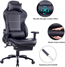 HEALGEN 斜倚游戲椅帶大腰支撐墊 賽車風格視頻游戲 PC 游戲椅 符合人體工程學的辦公高背椅帶頭枕