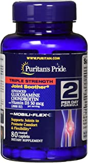 Puritan's Pride Triple Strength Glucosamine Chondroitin with Vitamin D3 and Boswellia Serrata Extract, 2,000IU per serving, 80 Coated Caplets
