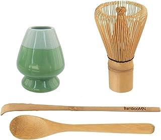 Matcha Whisk 套装 - 竹子茶 Whisk (Chasen)+ 钩子竹勺 (Chashaku) + 茶匙 + Whisk 夹(Kuse Naoshi)。 4 件装 Set - Mint Green 6955114964615a