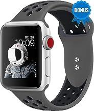 NOMBARGO 运动手表带穿孔替换件适用于 Apple Watch Band 42 毫米 44 毫米 SM ML 舒适硅胶苹果手表腕带,礼物适合系列 1 2 3 4 5NOMB-SPT-BNDH  42MM/ 44MM SM and ML Dar