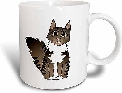 3dRose Janna Salak 设计猫 - 可爱的缅因州卡通猫 - 棕色标签图案带白色 - 马克杯 蓝色 11 oz mug_35523_6