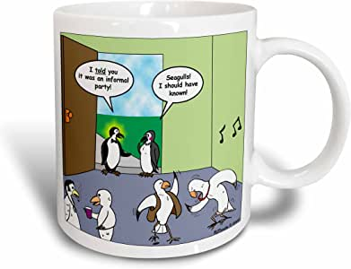 3dRose Penguins Attempt To Go To A Seagull Party Ceramic Mug, 11 oz, White