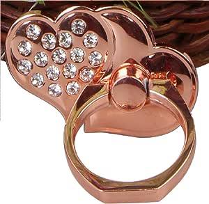 电话环 - 金属心爱 V2-360 度旋转全金属通用环握把/支架,适用于任何智能手机和带底座底座的设备 玫瑰金