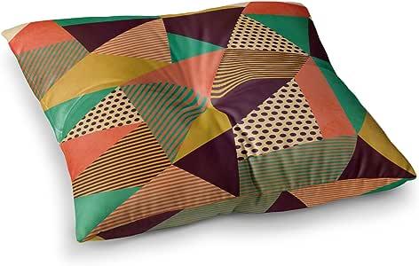 "KESS InHouse Louise Machado""Geometric Love II""橙色绿色方形地板枕 多种颜色 26"" x 26"" LM2034ASF02"