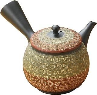 常滑烧 辉之 黑泥印籠二色印花 茶壶 (装入化妆箱) Y64