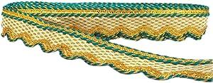 Yuktha 螺纹带金色饰边蕾丝 - 9 码 3.5 厘米 天蓝色 NA
