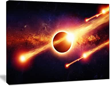 """太空启示抽象帆布艺术墙照片艺术印刷品印刷品 红色 12"""" H x 20"""" W x 1"""" D 1P PT8067-20-12"""