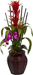 Nearly Natural Bromeliad and Orchid Combo 丝绸花朵 兰花色 6831-OR