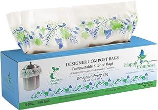 堆肥垃圾袋(3 加仑) - 可堆肥和可生物降解垃圾袋 - 厚、重、环保堆肥袋厨房垃圾袋 w/美学自然设计 - ASTM 6400 认证(60 袋)